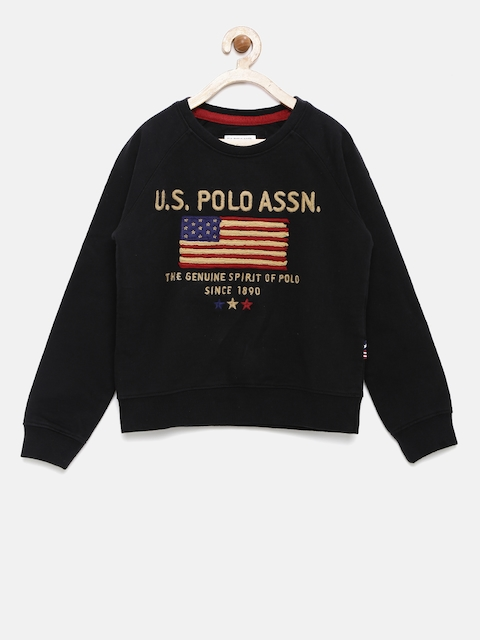 U.S.Polo Assn. Kids Boys Black Sweatshirt