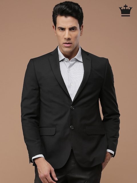 Louis Philippe Black Ultra Fit Single-Breasted Blazer