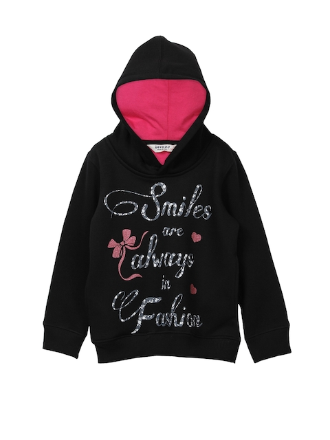 Beebay Girls Black Printed Sweatshirt