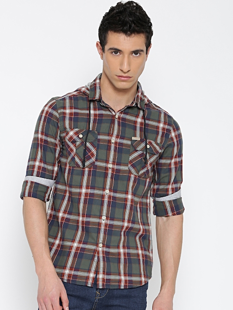 Flying Machine Men Green Checked Casual Shirt with Hood