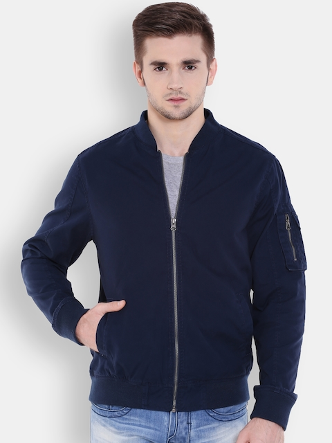 Flying Machine Men Navy Solid Bomber Jacket