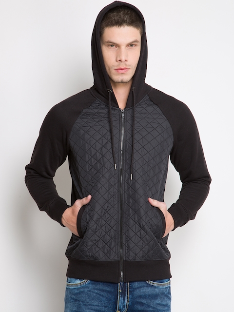 LOCOMOTIVE Black Hooded Sweatshirt with Quilted Detail