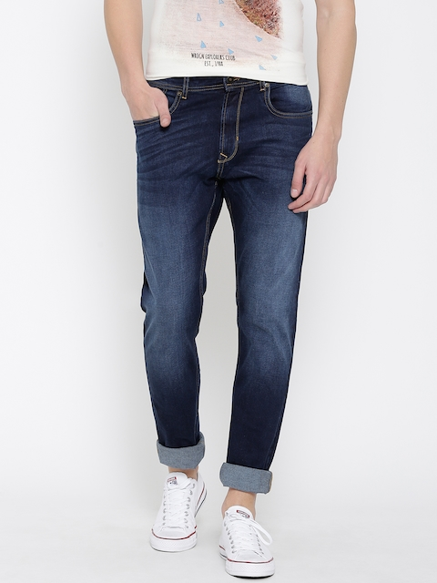 Peter England Casuals Men Navy Blue Classic Tapered Fit Mid-Rise Clean Look Jeans