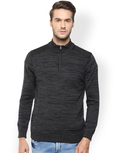 Mufti Charcoal Grey Patterned Sweater