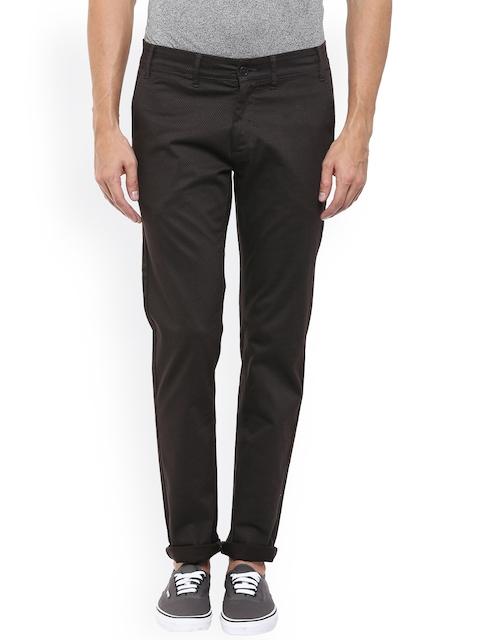 Mufti Men Charcoal Self-design Slim Fit Chino Trousers