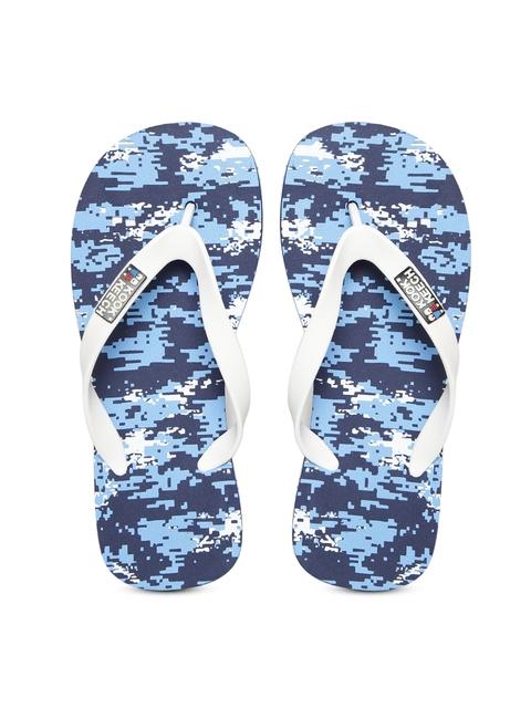 Kook N Keech Men White & Blue Printed Flip-Flops