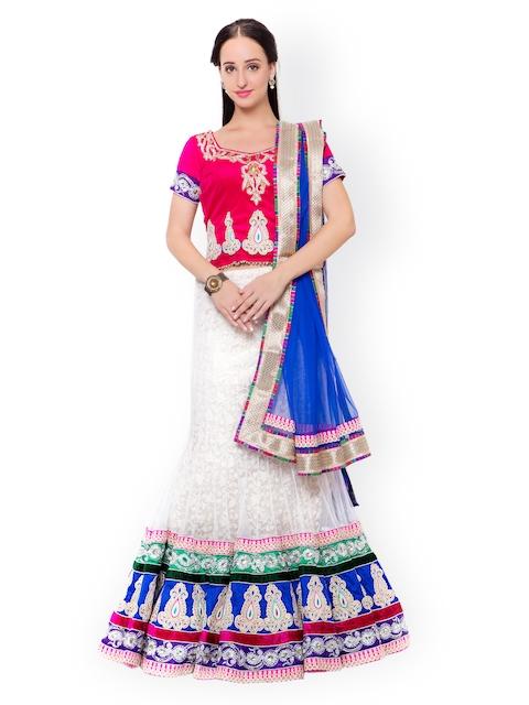 Triveni Pink & White Embellished Net & Velvet Semi-Stitched Lehenga Choli with Dupatta