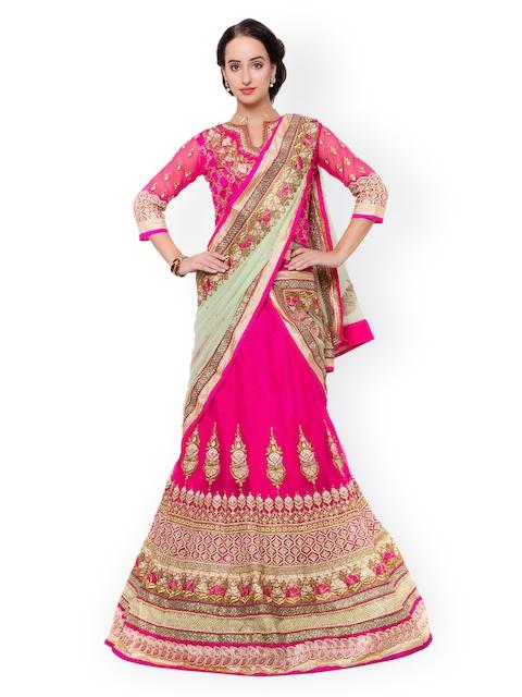 Triveni Pink Embellished Net Semi-Stitched Lehenga Choli with Dupatta