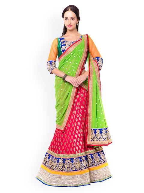 Triveni Red & Green Embroidered Velvet Semi-Stitched Lehenga Choli with Dupatta