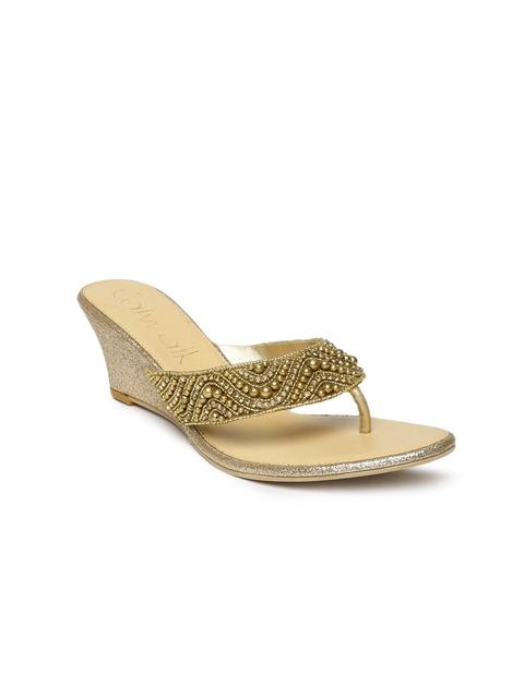 Catwalk Women Gold Solid Sandals