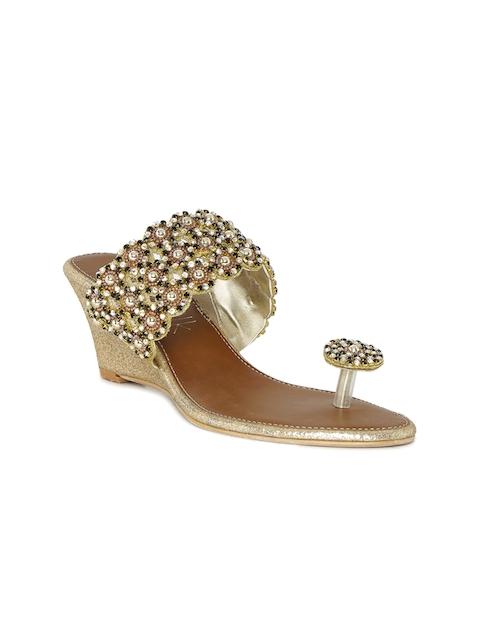Catwalk Women Gold-Toned Embellished Wedges