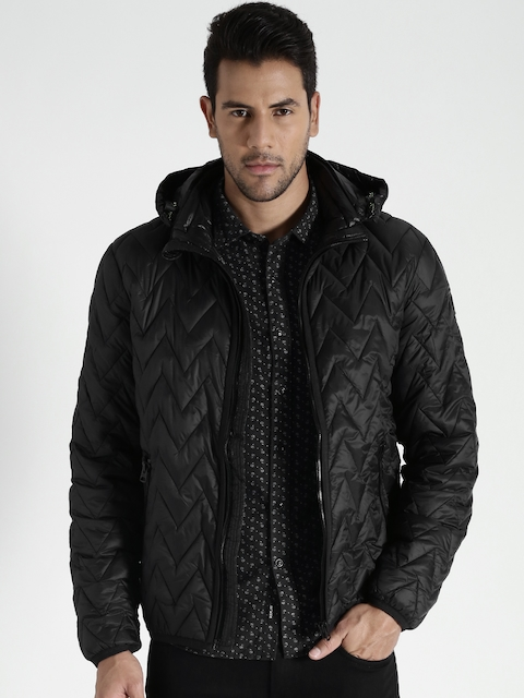 Replay Black Quilted Jacket with Detachable Hood