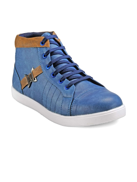 Juan David Men Blue Mid-Top Sneakers
