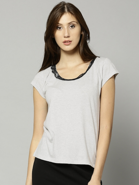 French Connection Women Grey Melange Solid T-Shirt