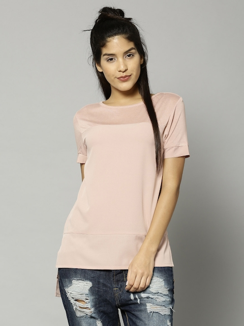 French Connection Women Peach-Coloured Solid Regular Top