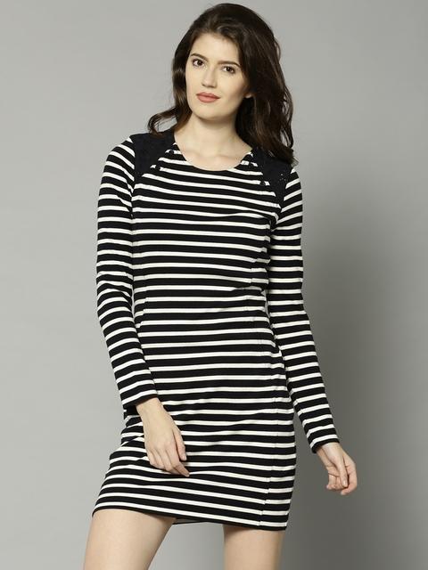 French Connection Women Black & White Striped Sheath Dress
