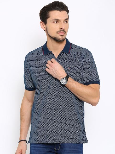 Wills Lifestyle Men Navy Printed Polo Collar T-shirt