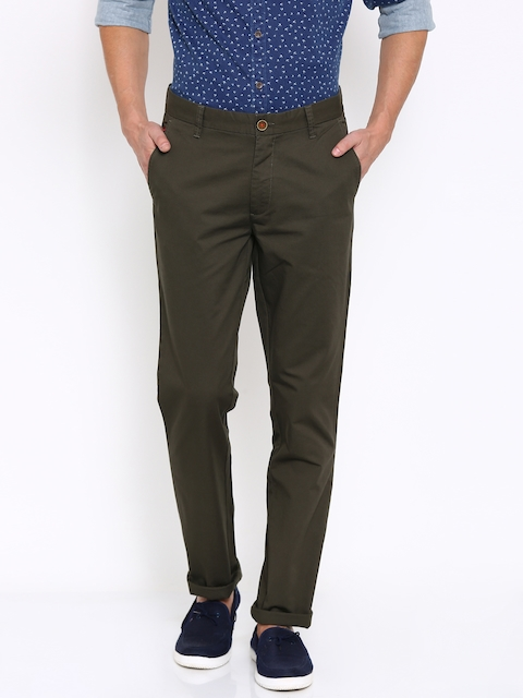 Wills Lifestyle Men Olive Green Solid Slim Fit Casual Trousers