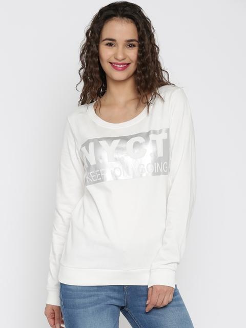 Flying Machine Women White Printed NYC Sweatshirt