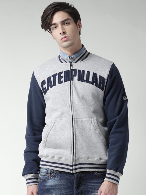 CAT Grey Melange and Navy Varsity Colourblocked Sweatshirt