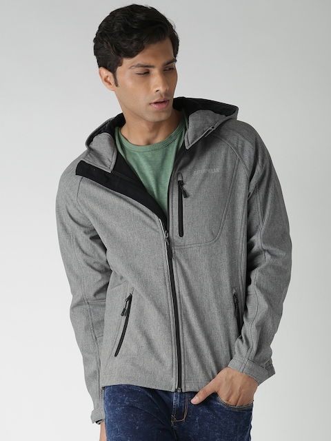CAT Grey Fremont Soft Shell Self-Design Hooded Jacket