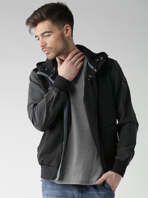 CAT Black Reflective Colourblocked Hooded Jacket