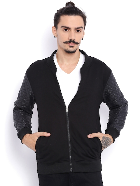 Campus Sutra Black Bomber Jacket with Quilted Detail