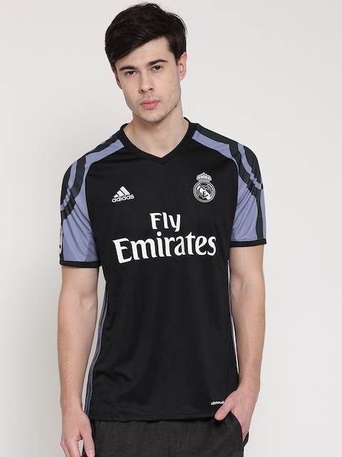 Adidas Men Black Real Madrid F.C. Printed V-Neck Jersey