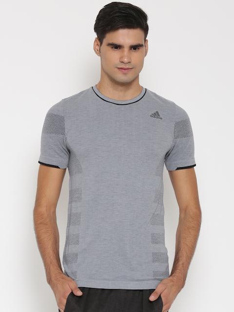 Adidas Men Grey Solid Round Neck T-Shirt