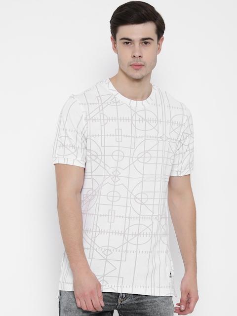 Adidas Men Off-White Printed Round Neck T-Shirt