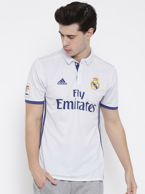 Adidas Men White H LS Real Madrid F.C. Printed Polo Collar Jersey