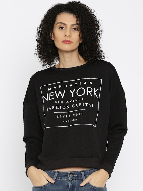ALCOTT Black Printed Embossed Sweatshirt