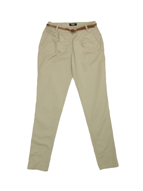 Allen Solly Woman Women Beige Solid Trousers