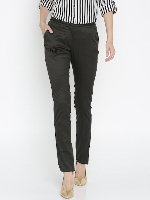 Allen Solly Woman Black Solid Regular Fit Flat-Front Trousers