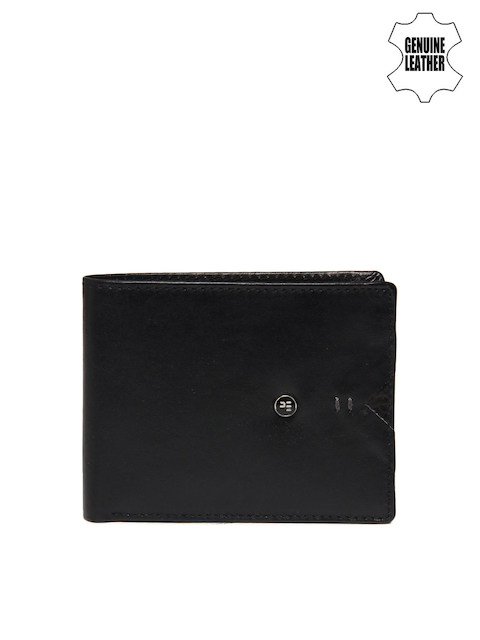 Peter England Men Black Genuine Leather Wallet  available at myntra for Rs.539