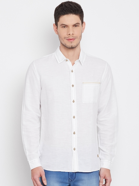 United Colors of Benetton Men White Regular Fit Solid Casual Shirt