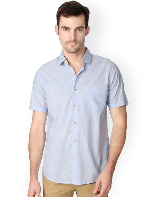 Peter England Blue Slim Fit Solid Casual Shirt