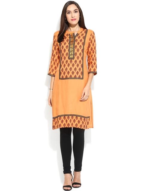 Mytri Orange Printed Kurta