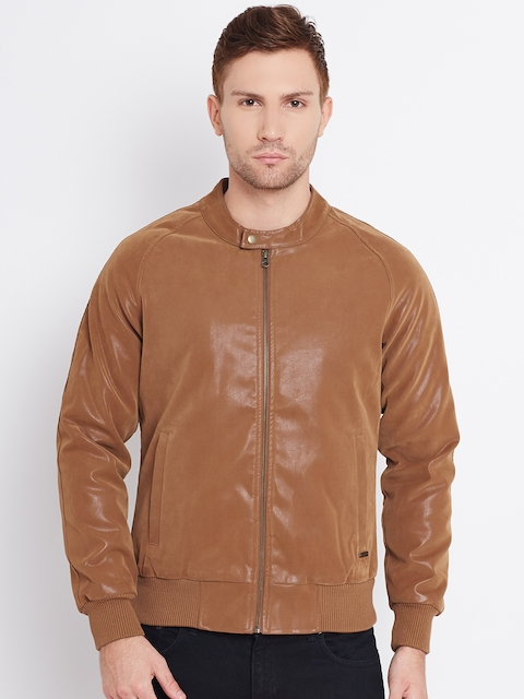United Colors of Benetton Tan Brown Faux Leather Bomber Jacket