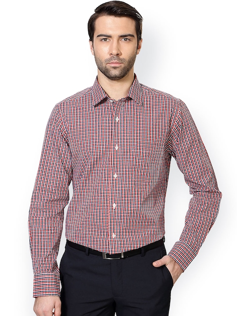 Peter England Navy & Red Slim Fit Checked Formal Shirt
