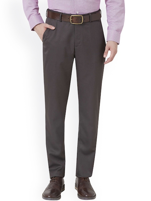 Peter England Charcoal Grey Slim Fit Formal Trousers