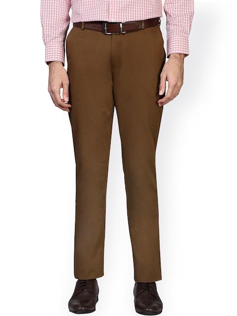 Peter England Khaki Slim Fit Formal Trousers