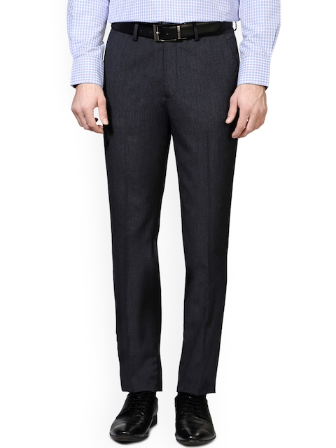 Peter England Grey Slim Fit Formal Trousers