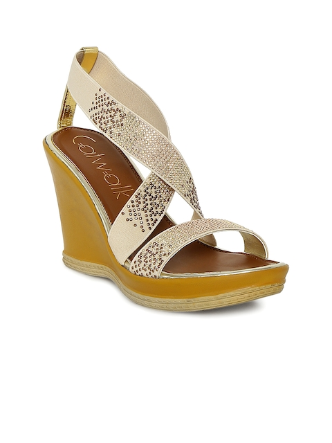 Catwalk - Wedge - Catwalk Women Beige Embellished Wedges