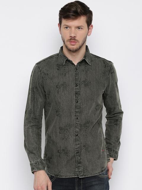 Originals by Jack & Jones Men Black Printed Slim Fit Denim Casual Shirt