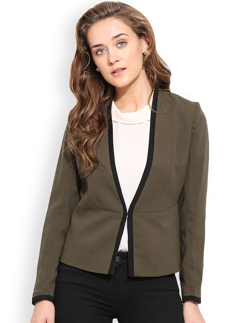 Blue Sequin Olive Green Tailored Jacket