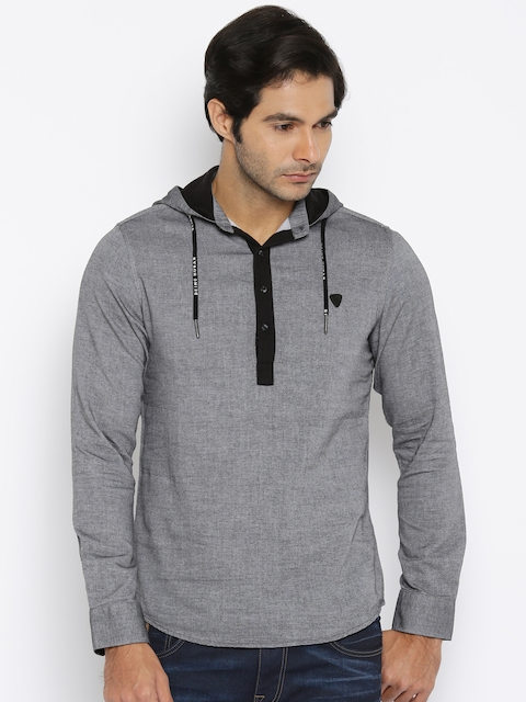 Being Human Clothing Men Grey Solid Hooded Casual Shirt