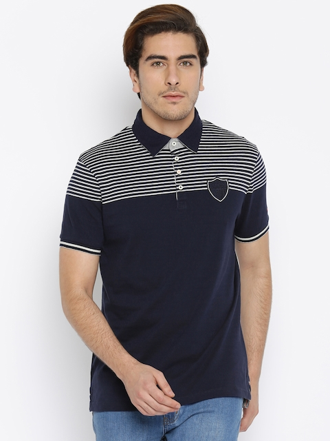 Being Human Clothing Men Navy Blue & White Striped Polo T-Shirt