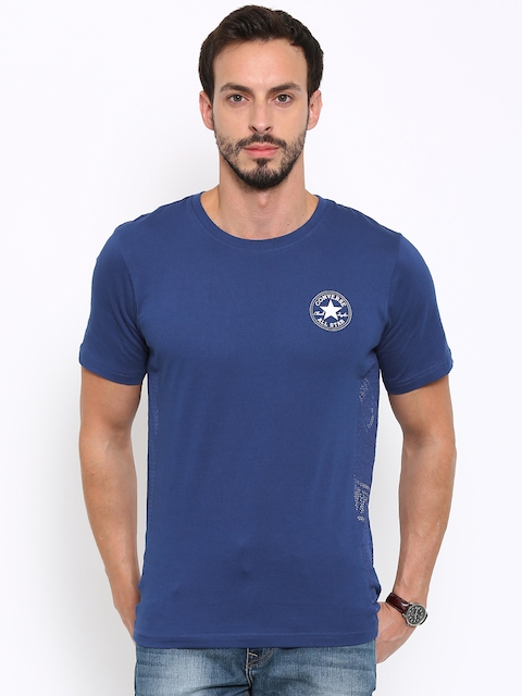 Converse Men Blue Solid Round Neck T-shirt