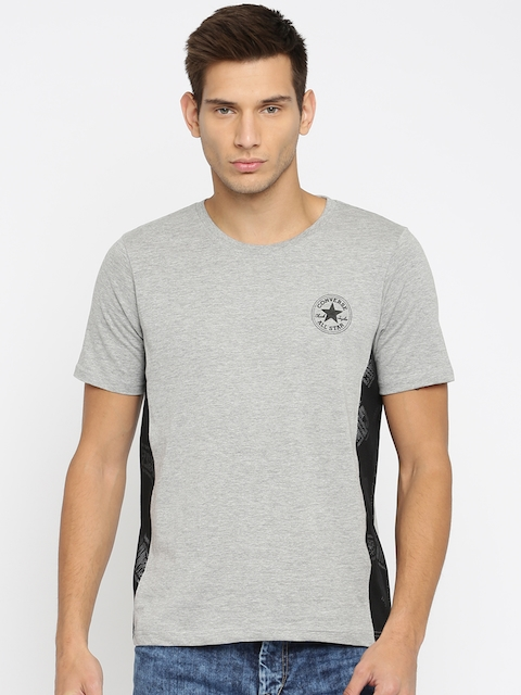 Converse Men Grey Melange Solid Round Neck T-Shirt